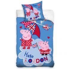 Parure de lit enfant Peppa Pig – Housse de couette Peppa et George 100% coton 140x200 cm