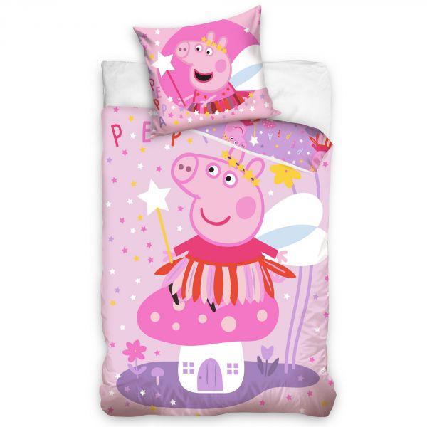 Parure de lit enfant Peppa Pig – Housse de couette Fée 100% coton 140x200 cm