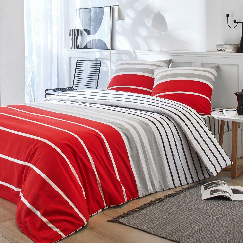 Housse de couette et taie d'oreiller 100% coton Joss Rouge : Taille - 240 x 260 cm. Parure housse de couette Coton Joss Rouge comprenant : housse de c