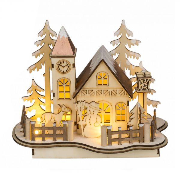 Village en bois décoration de noël avec LED