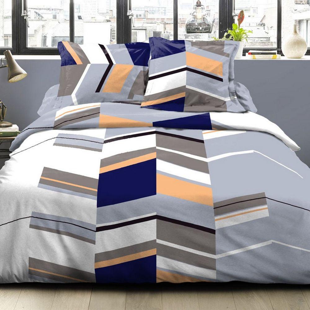 Housse de couette et taie d'oreiller 100% coton Stucture Gris : Taille - 220 x 240 cm. Parure housse de couette Coton Stucture Gris comprenant : houss