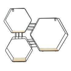 Etagère 3en1 hexagonal en bois et métal