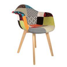 Fauteuil scandinave Patchwork motif multicolore