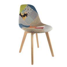 Chaise scandinave Patchwork motif multicolore