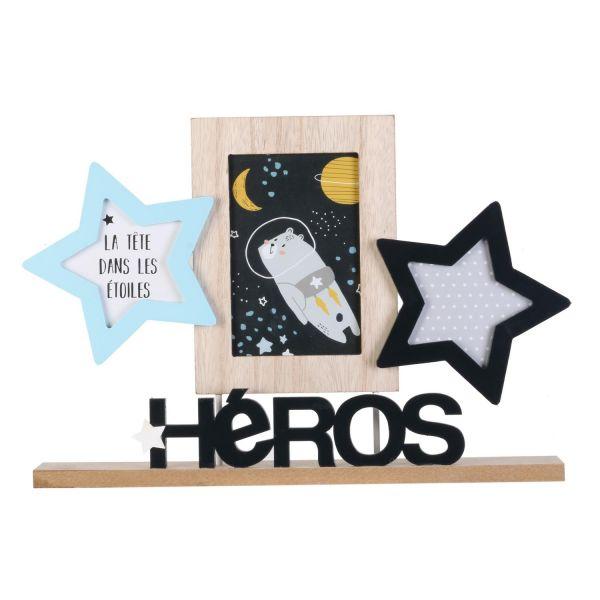 Cadre photos à poser Pêle-mêle 3 vues étoiles garçon Héros 38x25 cm