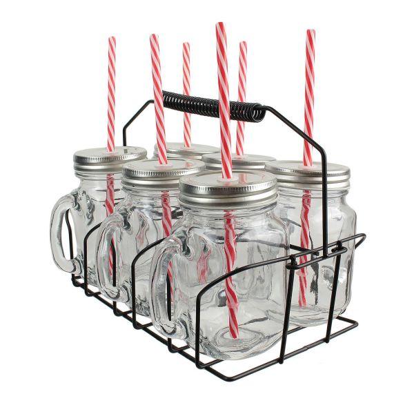 Lot 6 Mugs Jar Cocktail 485 ml avec support panier