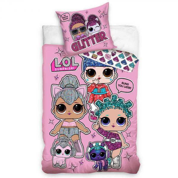 Parure de lit enfant LOL Surprise Glitter 100% coton 140x200 cm