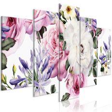 Tableau Fleurs Rose Composition (5 Parts) Wide Colourful