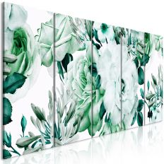 Tableau Fleurs Rose Composition (5 Parts) Narrow Green