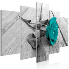 Tableau Fleurs Rose on Wood (5 Parts) Wide Turquoise
