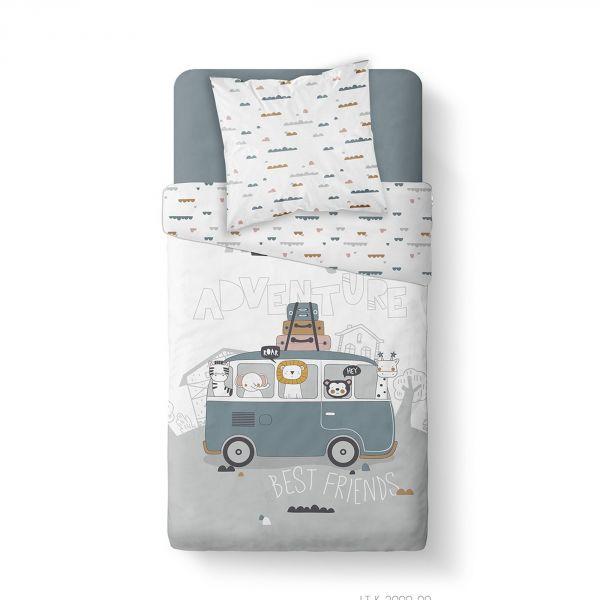 Housse de couette enfant 140x200 cm avec 1 taie d'oreiller 63x63 cm Parure de lit Coton Kids Kool 1.7