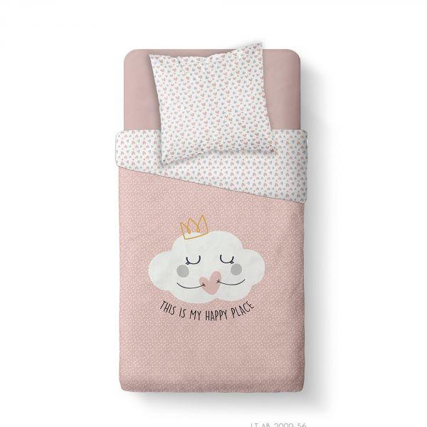 Housse de couette enfant 140x200 cm avec 1 taie d'oreiller 63x63 cm Parure de lit Coton Kids Kool 1.9
