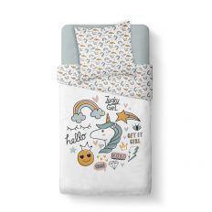 Housse de couette enfant 140x200 cm avec 1 taie d'oreiller 63x63 cm Parure de lit Coton Kids Kool 1.11
