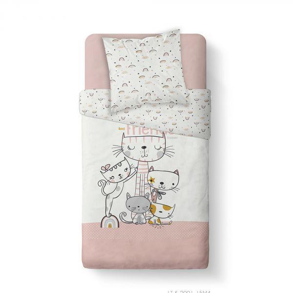 Housse de couette enfant 140x200 cm avec 1 taie d'oreiller 63x63 cm Parure de lit Coton Kids Kool 1.14