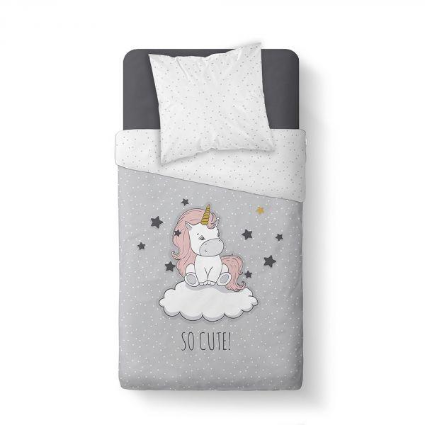 Housse de couette enfant 140x200 cm avec 1 taie d'oreiller 63x63 cm Parure de lit Coton Kids Kool 1.15