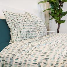 Housse de couette 220x240 cm avec 2 taies d'oreiller 65x65 cm Parure de lit Coton Eve