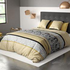 Parure de lit housse de couette avec taies d'oreiller 100% Coton 57 fils Amazonia Gold