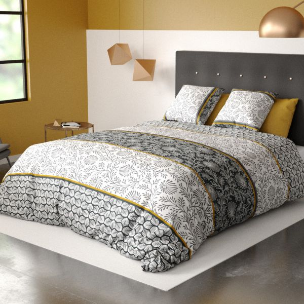 Parure de lit housse de couette avec taies d'oreiller 100% Coton 57 fils Vega Gold
