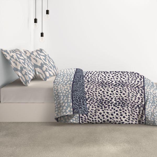 Parure de lit housse de couette avec taies d'oreiller 100% Coton 57 fils Darla