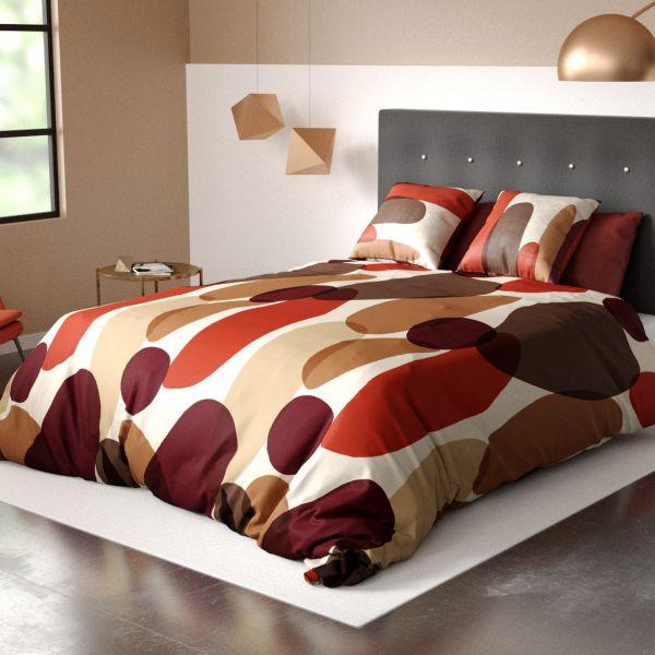 Parure de lit housse de couette avec taie d'oreiller 100% Coton 57 fils Jopline