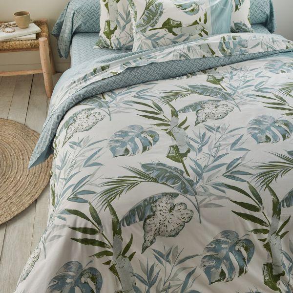 Parure de lit housse de couette avec taies d'oreiller 100% Coton 57 fils Jungly Vert